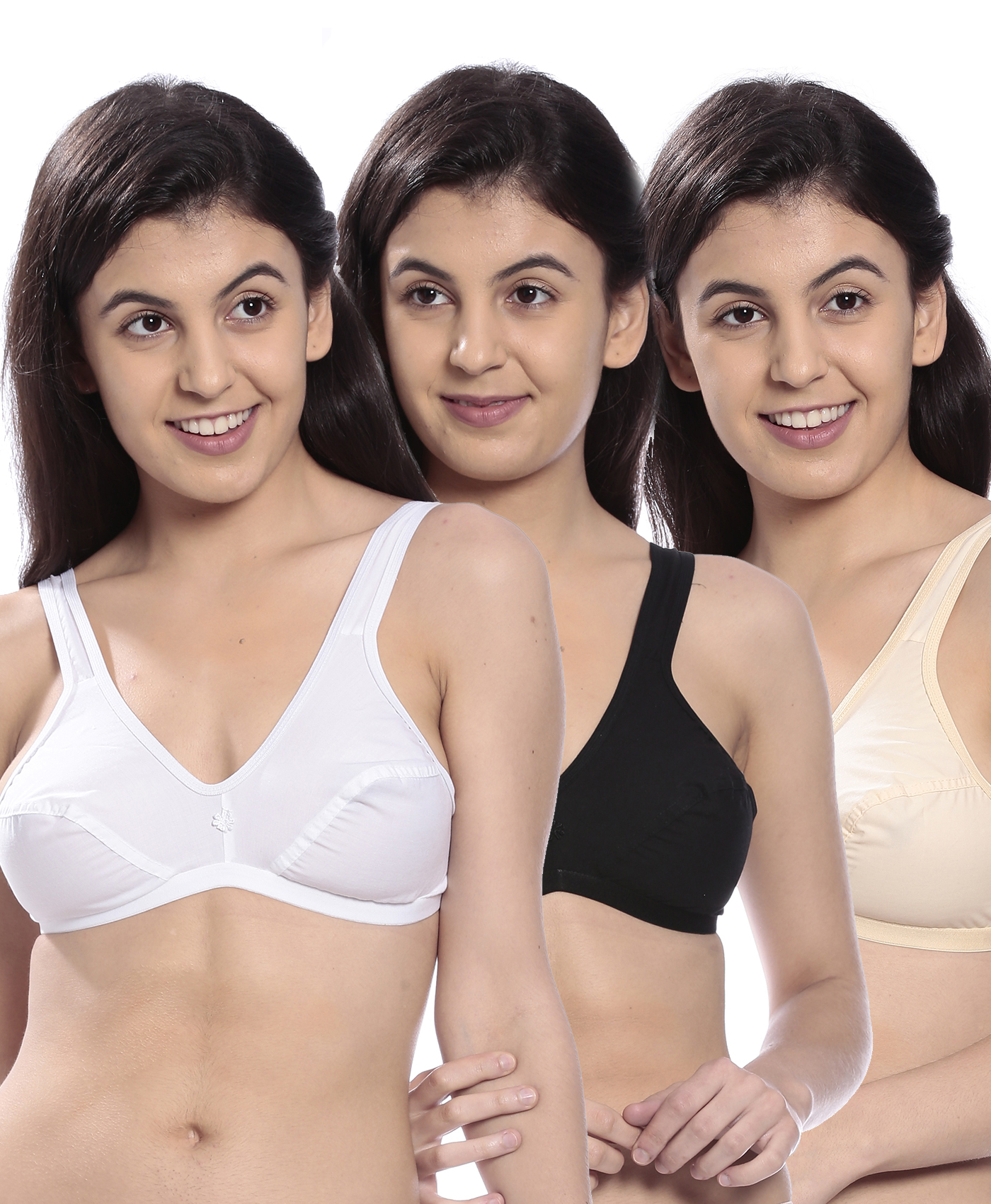 Johnson KOMAL Full Coverage Multi Color Non Padded Bra... (Pack Of 3)