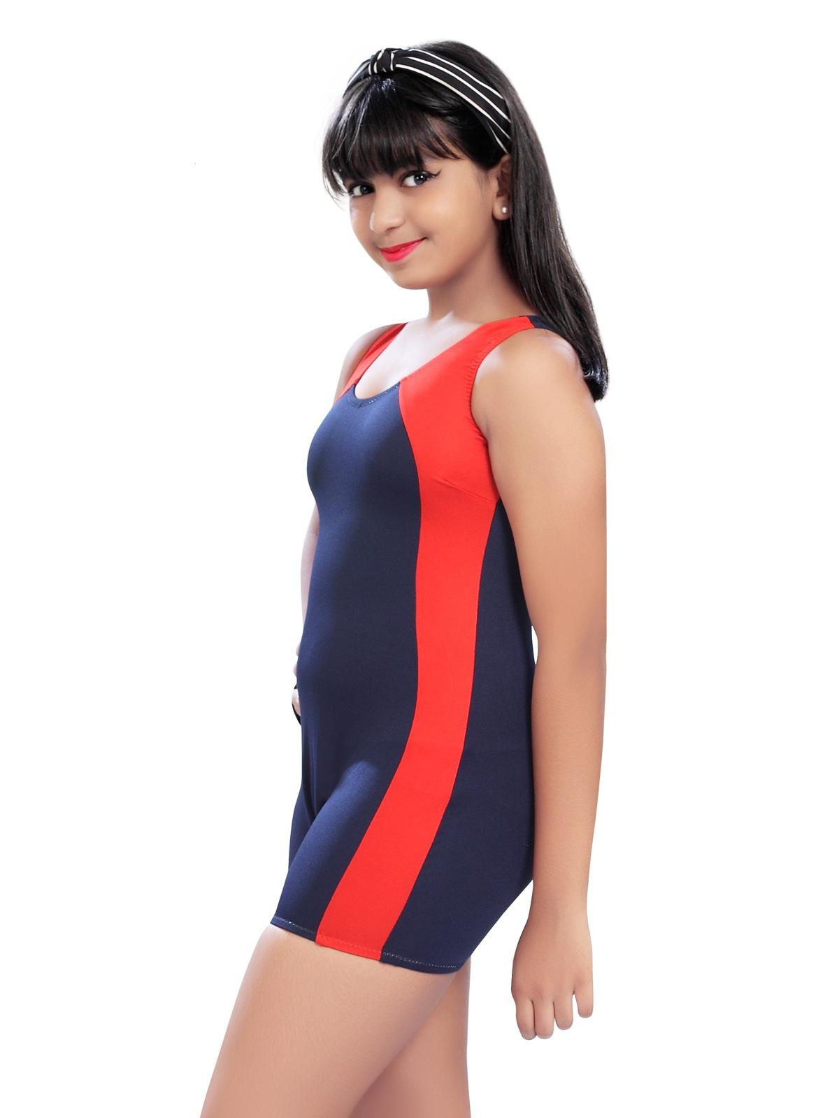 Enkay Lisa Kid's Solid Swimsuit (Pack Of 1)