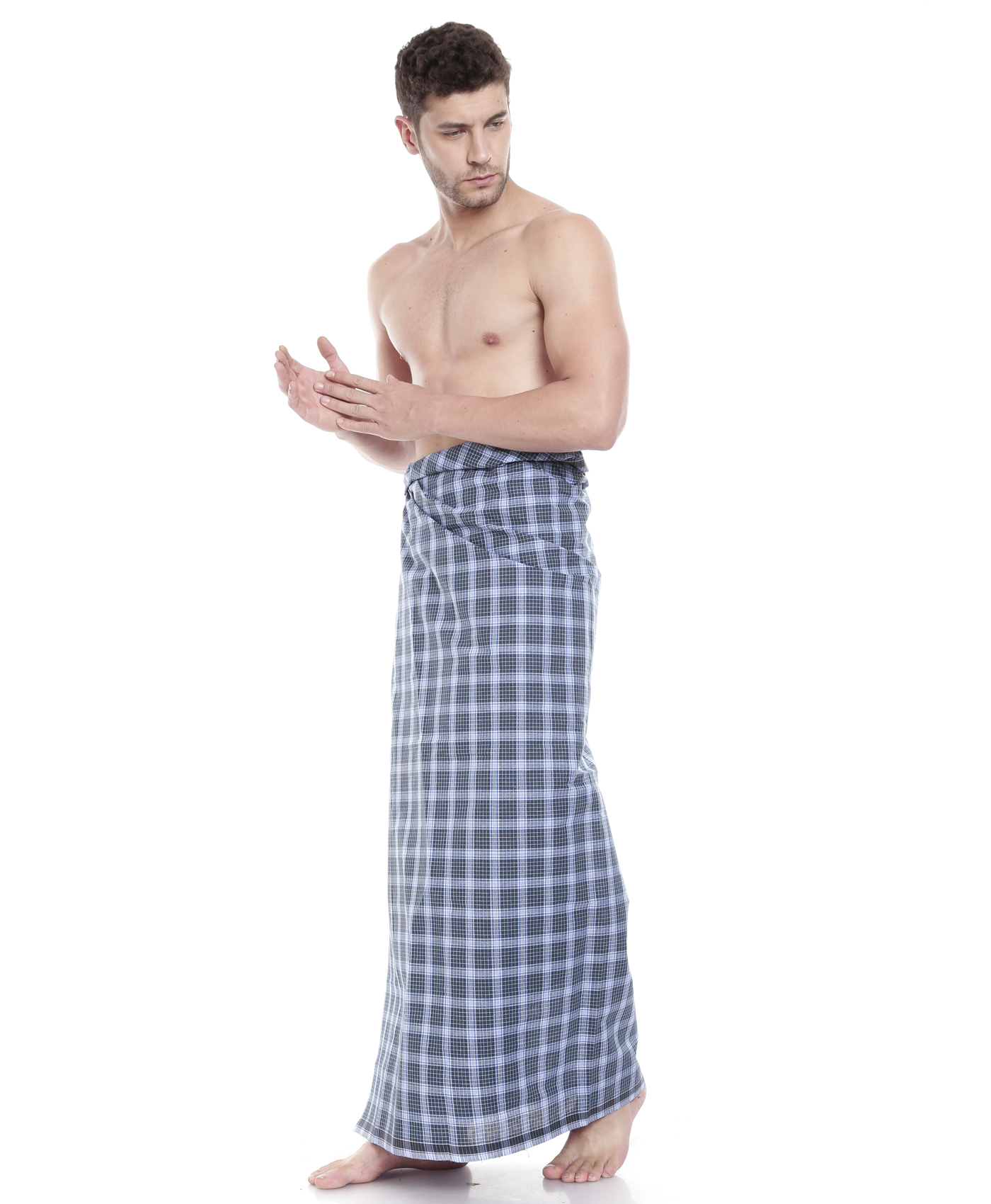 Johnson Men's Blue Color Checkered Dhoti (Colors May Vary)