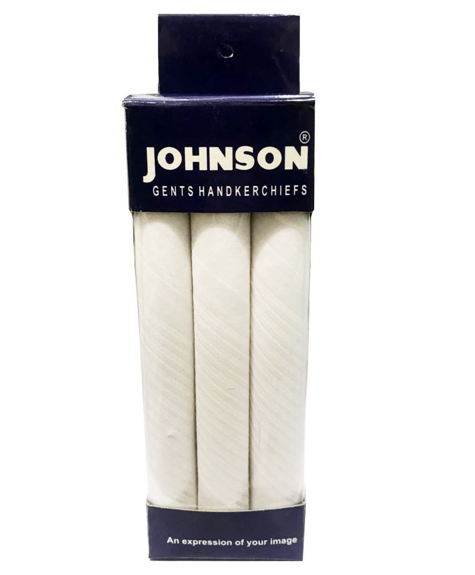 Johnson Men's Cotton White Color Handkerchief