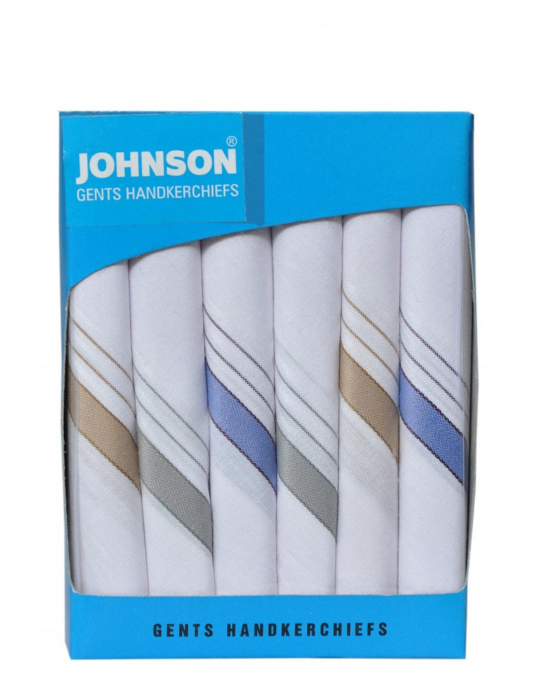 Johnson Men's Cotton White Color Handkerchief (Pack Of 6)