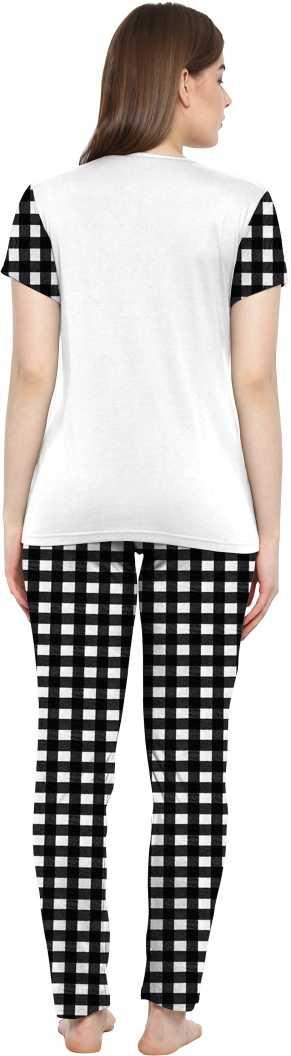 Women Printed Top & Pyjama Set (Pack Of 1)